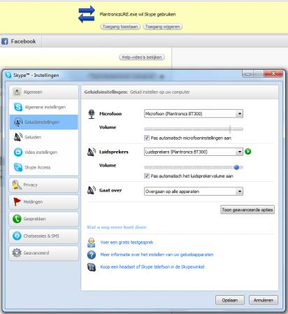 Wanneer we Skype openen, zien we bovenaan een melding dat PlantronicsURE.exe Skype wil gebruiken