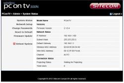 Het tabblad 'Systeem status' geeft een beknopt overzicht van o.a. de netwerk- en verbindingsstatus