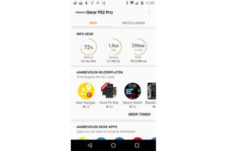 Samsun Gear app verbonden met Gear Fit2 Pro