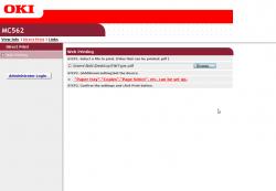 De webinterface van de OKI MC562dn is opgedeeld in een informatief gedeelte en een afgeschermde beheersectie