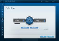 'Snelheidstest' is een ingebedde snelheidsmeter die de snelheid van je internetverbinding weergeeft