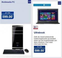 Medion desktop-pc bij Aldi BE en Medion Ultrabook bij Aldi NL