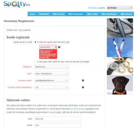 Spotty - voorwerpen registrerren