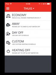 Honeywell evohome app sneltoetsen