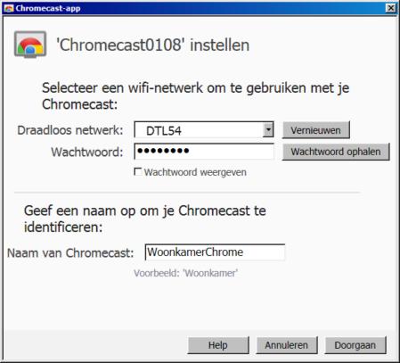 Wifi instellen op Chromecast