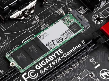 Plextor M6e ssd in M.2 PCIe sleuf op Gigabyte moederbord