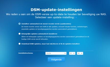 Synology DSM update-instellingen