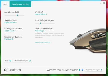 Logitech MX Master aanwijzen en scrollen