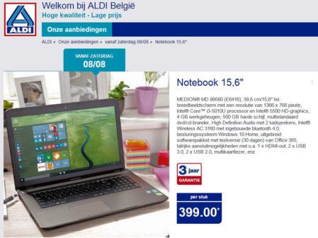 De eerste Medion laptop met Windows 10 bij Aldi
