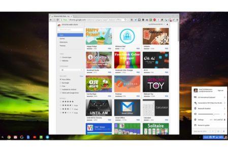 ChromeOS: desktop en Chrome Web Store met beschikbare offline apps.