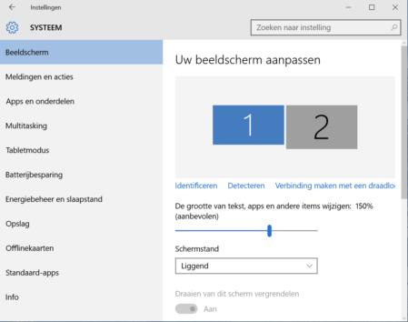 Windows 10 beeldschermisntellingen