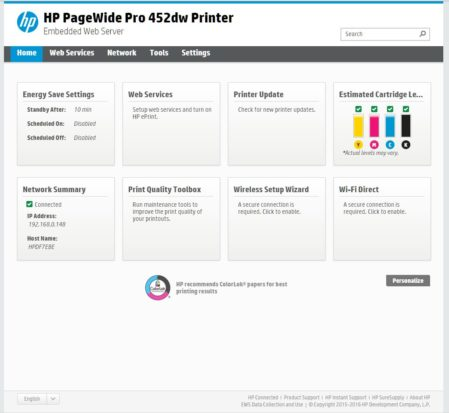 HP PageWide Pro Embedded Web Server