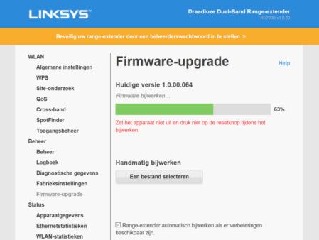 Linksys RE7000 firmware-upgrade