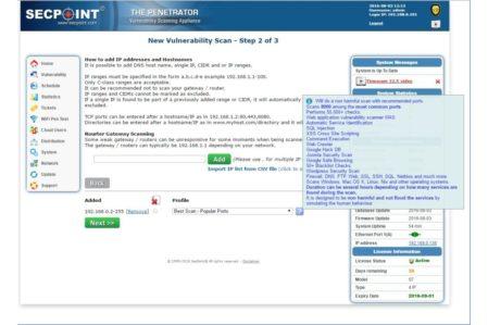 SecPoint Penetrator infoscherm over gekozen scantype