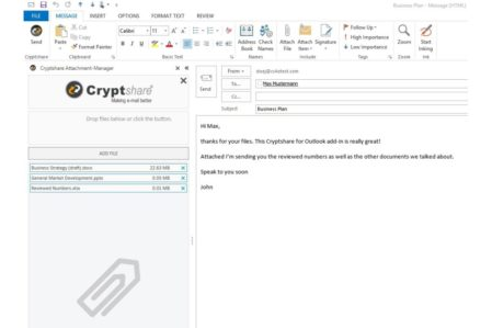 Cryptshare Outlook integratie