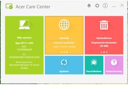Acer Spin 1 Carecenter software