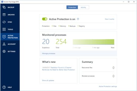 Acronis 2018 active protection