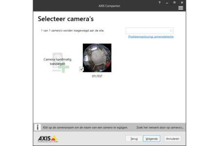 De Axis Companion software detecteert de camera automatisch