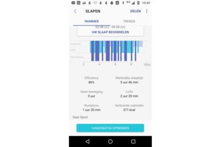 Samsun Gear Sport slaapdetectie (gegevens gesynchroniseerd in Samsung Health)