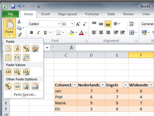 Zeker in Excel is de Paste Preview meer dan welkom
