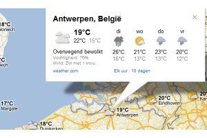 Google maps met weerinformatie