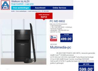 Twee verschillende desktops bij Aldi NL en Aldi BE