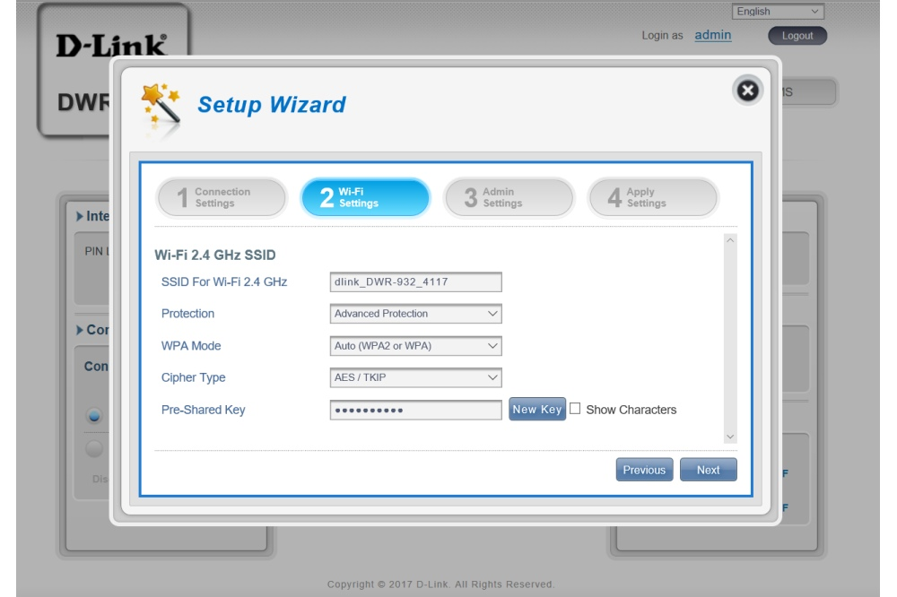 D-Link DWR-932 setup wizard