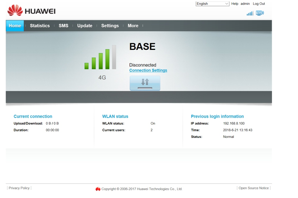 Huawei B618 mobiele router: dashboard