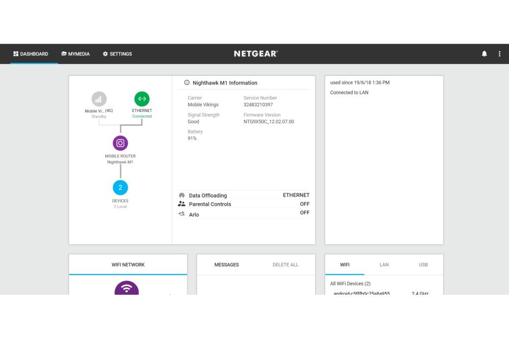 Netgeaer M1 data offloading via ethernet
