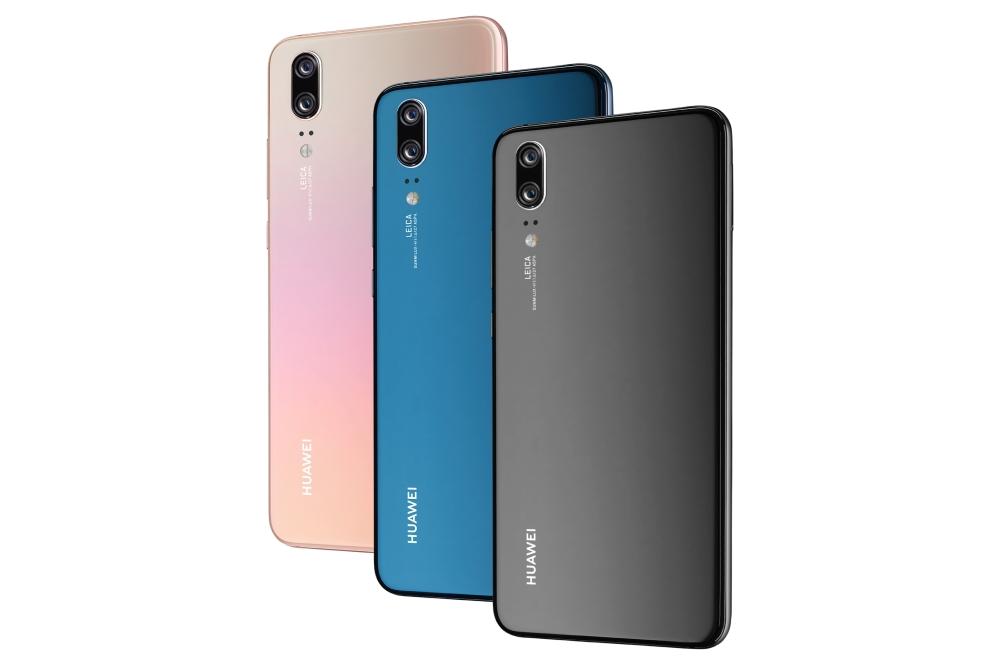 De drie kleuren waarin de Huawei P20 verkrijgbaar is