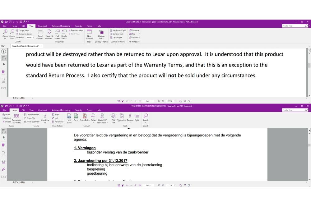 Nuance Power PDF 3 meerdere documenten in tabs