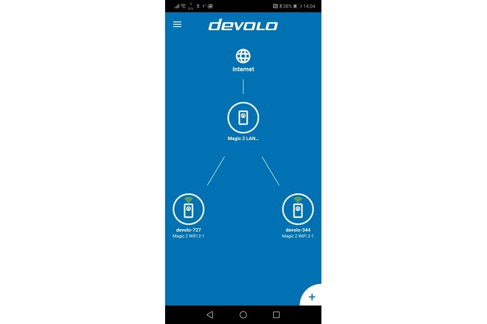 devolo Magic 2 app hoofdscherm