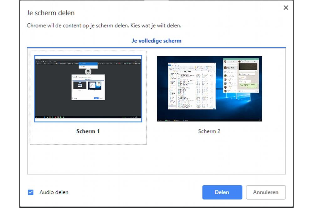 Keuze tussen welke Windows desktop je wil 'casten'