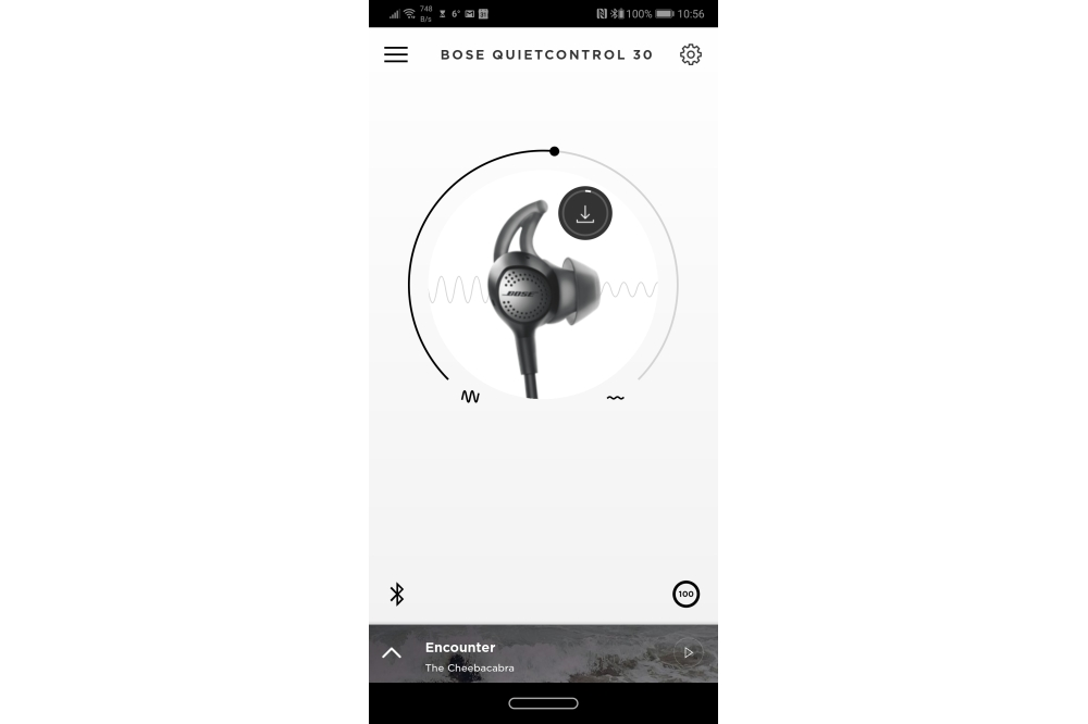 Bose QuietControl 30 anc-regeling in Connect app