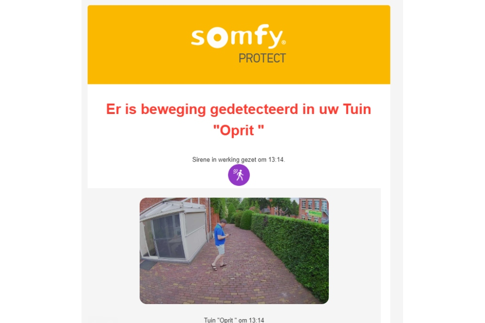 Somfy Outdoor alarm via e-mail