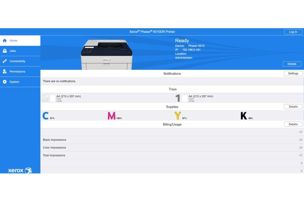 Xerox Phaser 6510 Web UI