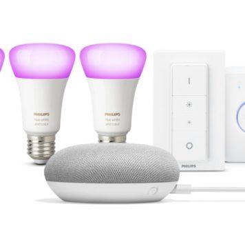 Philips Hue White and Color Ambiance starterkit met Google Home Mini starterkit