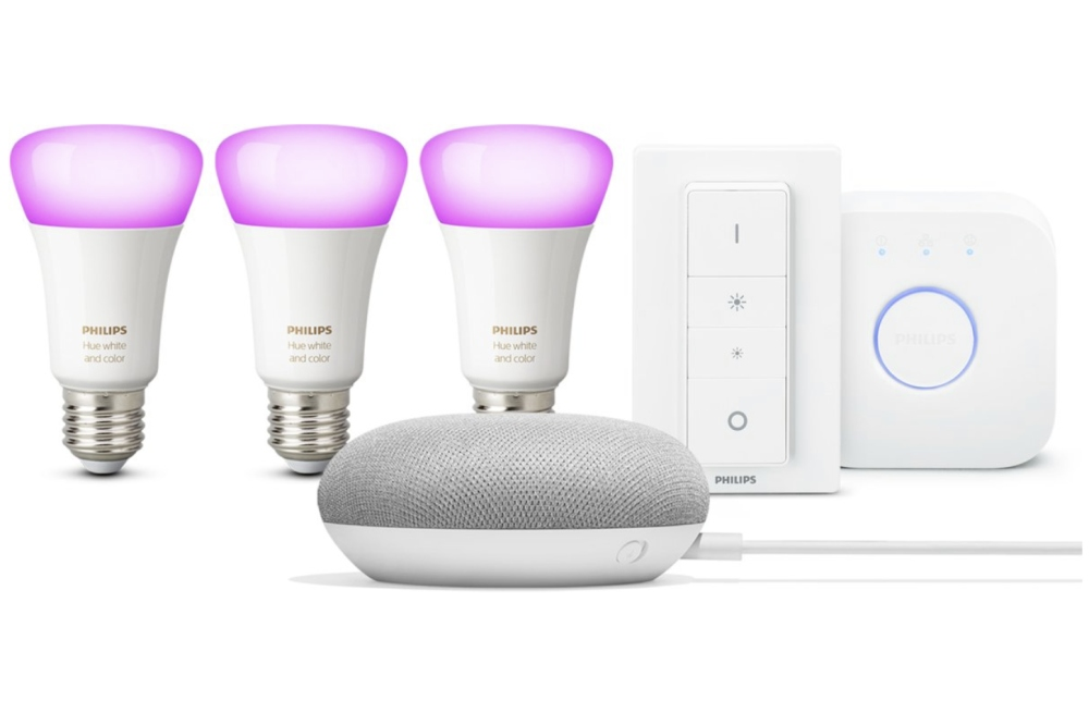 Philips Hue White and Color Ambiance starterkit met Google Home Mini starterkit