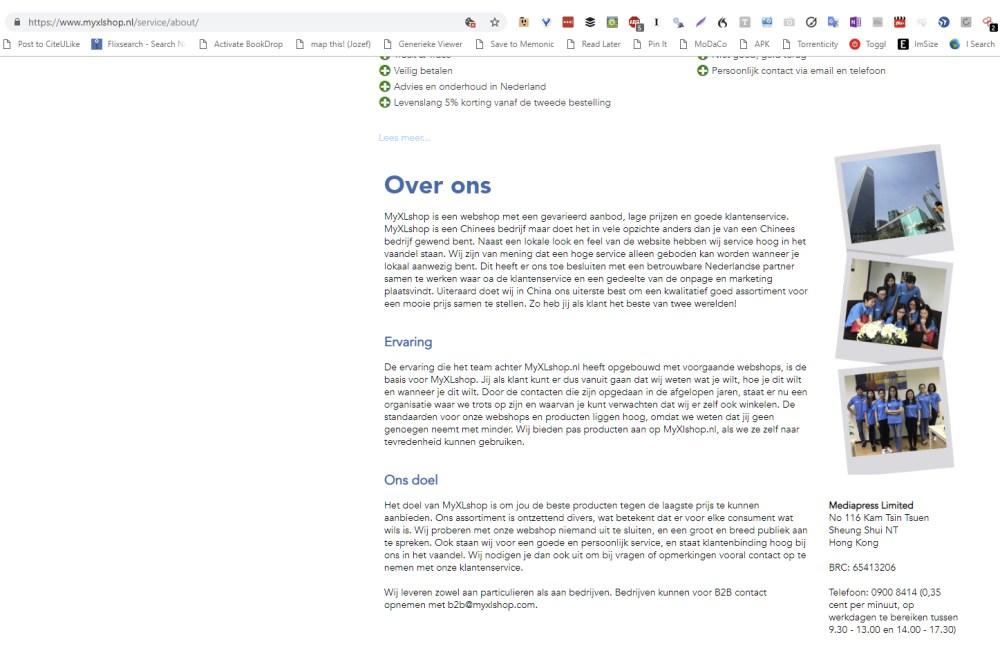 Deze op het eerste zicht Nederlandse webwinkel blijkt vanuit Hong Kong te verkopen. Controleer altijd eerst de informatiepagina!