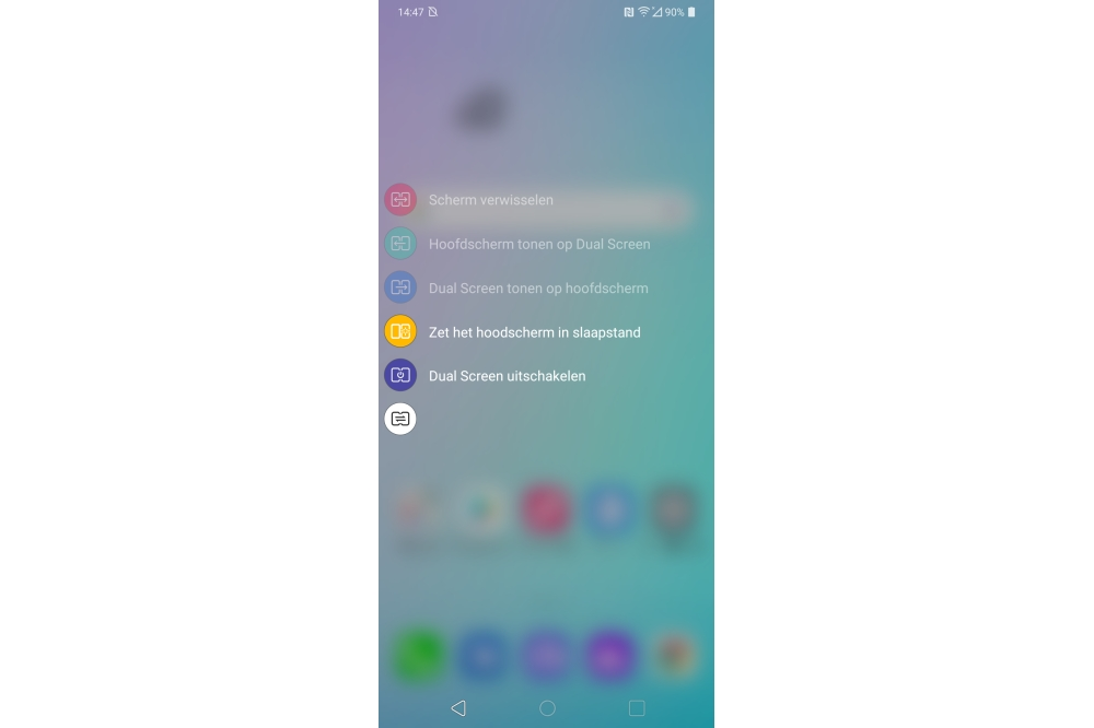 LG Dual Screen G8x ThinQ menu voor wijzigen werking tweede scherm