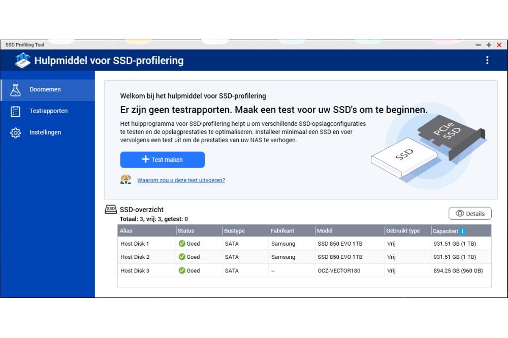 QNAP TVS-672 XT SSD profileringstool