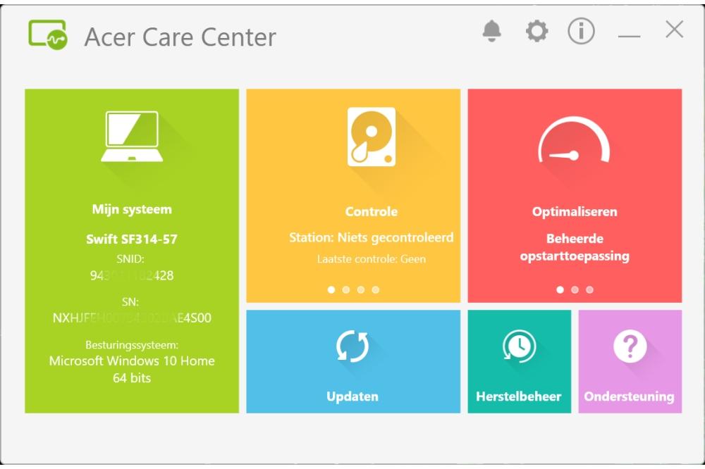 Acer Swift 3 Care Center