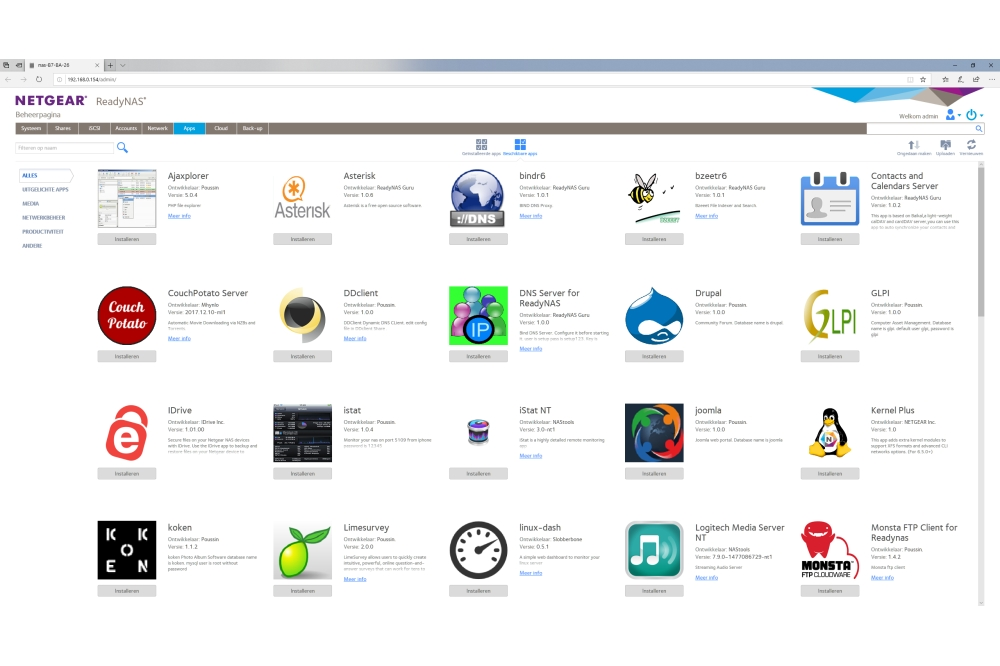 Netgear RN212 NAS: app aanbod