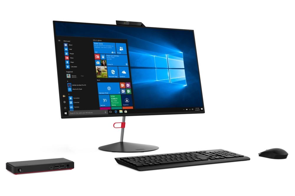 Lenovo ThinkCentre M90N met toetsenbord, muis en monitor