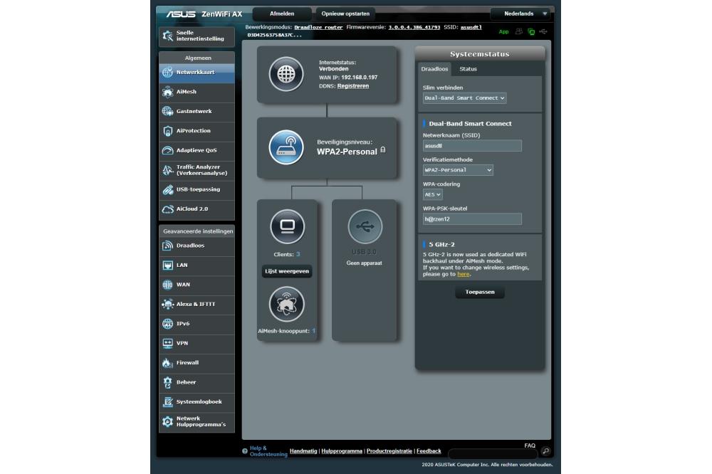 Asus ZenWiFi AX XT8 webbeheer